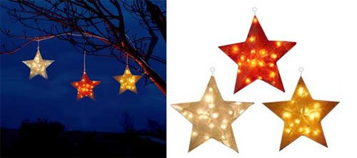 Large Hanging Illuminated Fiberglass Star Set