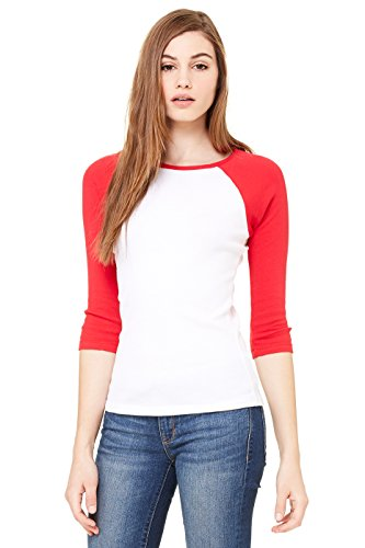 Zara Yoga Studio  La  Women'S Baby Rib 3/4 Sleeve Contrast Raglan Tee (Medium /White/Red)