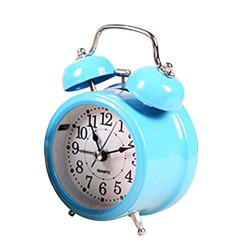 """Japace® 3"""" Vintage Snooze Réveil à Double Cloche avec Veilleuse Silencieux Rétro / lumineuses Pendulette Ancien de Table Quartz Analogique sans Tic Tac (couleur aléatoire : rouge jaune bleu rose vert )"""