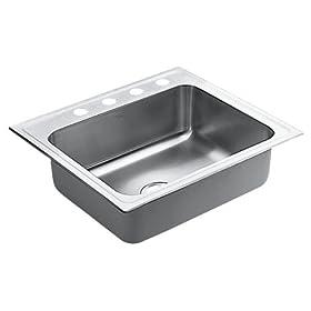Moen 22337 Lancelot Stainless Steel 18 Gauge Single Bowl Drop In Sink