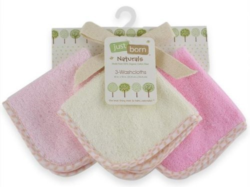 Just Born Naturals Organic Washcloth 3-Pack, Pink front-326224