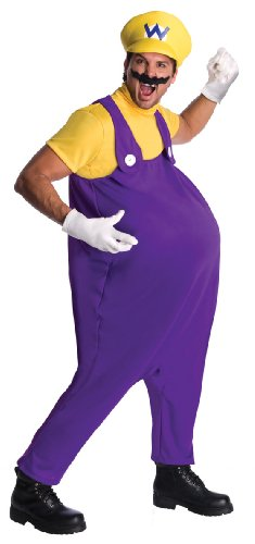 Super Mario Brothers Adult Wario Costume, Standard Color, Standard