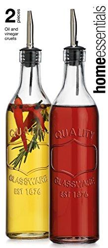Olive Oil and Vinegar Glass Dispenser Bottle- Oil Dispensing crusts with Quality Embossing (Vinegar Dispensing Bottle compare prices)