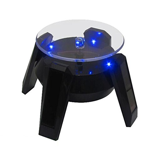 Leadleds Exquisite New Black Solar Powered Display Stand Rotating Turntable