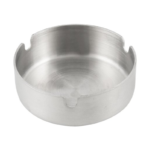 Uxcell Water and Wood Home Silver Tone Round Cigarette Ashtray