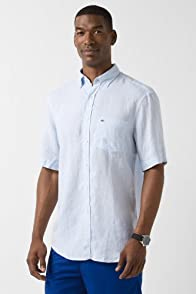 Short Sleeve Linen Button Down Woven Shirt