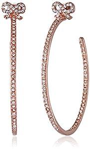 Betsey Johnson Medium Crystal Bow Rose Gold Hoop Earrings
