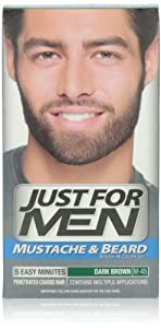 Just for Men Brush-In Color Gel for Mustache & Beard, Dark Brown M-45, 1 kit, (Pack of 3)