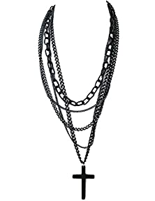 buy Overmal Fashion Retro Multi-Layer Chains Pendant Black Cross Metal Long Necklace