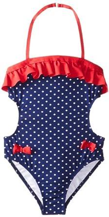 Jantzen Big Girls'  Americana Bow One-Piece Swimsuit, Blue, 14