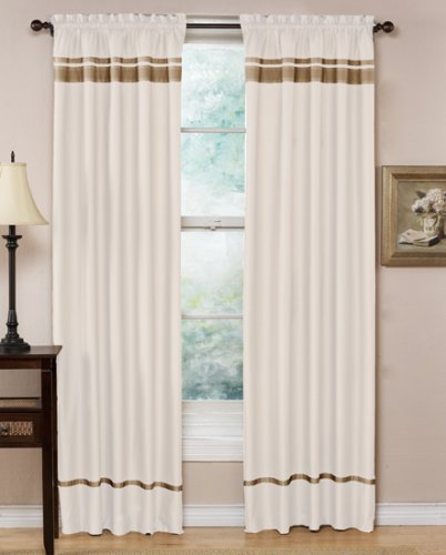 Spa Collection Curtains White and Taupe Stripe Set of 2 Window Panels Coverings Treatments