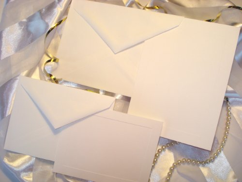 50 Set Wedding or Party Invitation Kit, Blank, with Panel Card, Response Cards & Envelopes. Printable Do It Yourself Wedding Invitations. White, High Quality Cards with Raised Panel Edging.
