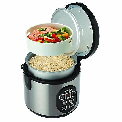 Aroma Digital Rice Cooker and Food Steamer, 4-Cup Uncooked, 8-Cup Cooked (3 Tier Electric Steamer compare prices)