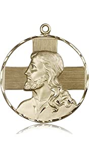Free Engraving Included Medal-14k Gold St. Saint Christopher Medal 1 5/8 x 1 1/2 Mens Large 5848KT w/o Chain w/Box Unusual & Specialty Travelers/Motorists