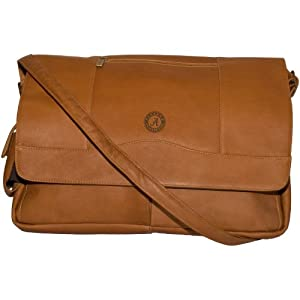 NCAA Alabama Crimson Tide Tan Leather Laptop Messenger Bag by Pangea Brands