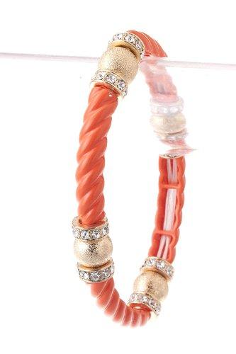 Trendy Fashion Jewelry Metal Rope Bracelet By Fashion Destination | (Coral)