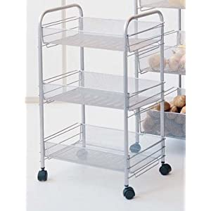 Click to buy Rolling Kitchen Cart With Mesh Baskets For Storage from Amazon!