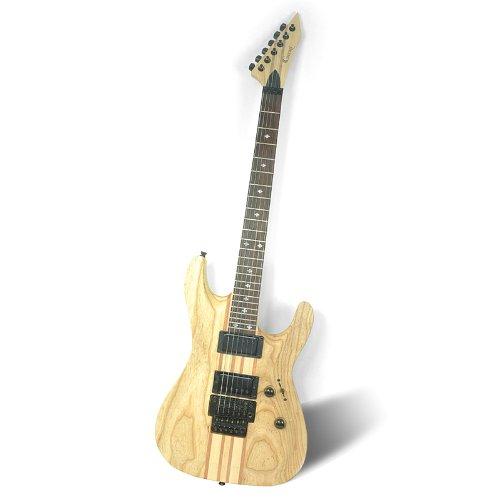 "One Piece Electric Guitar ""Gecko Ge-803"" - 24 Frets, Wooden Design, 2X Humbucker Pickup"