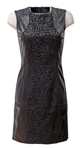 trendBOUTIQUE Aalina - schwarzes Lederkleid Kleid Abendkleid Lammnappa Perforation Saumschlitz