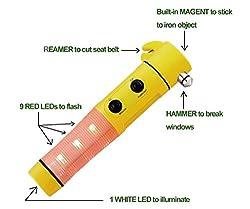 Delhi Traderss - Car 5In1 Window Glass Breaker Hammer,Emergency Beacon Led Light,Seat Belt Cutter - Hyundai Santro
