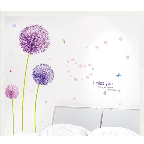 Hee Grand Removable Vinyl Wall Sticker Mural Decal Art Purple Dandelion