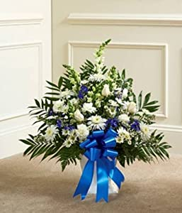 Flowers - Blue & White Sympathy Floor Basket