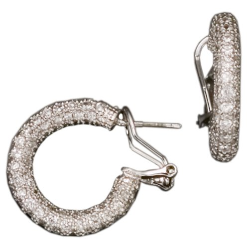 C.Z. Hoop Rhodium (.925) S/S Earring (Nice Holiday Gift, Special Black Firday Sale)