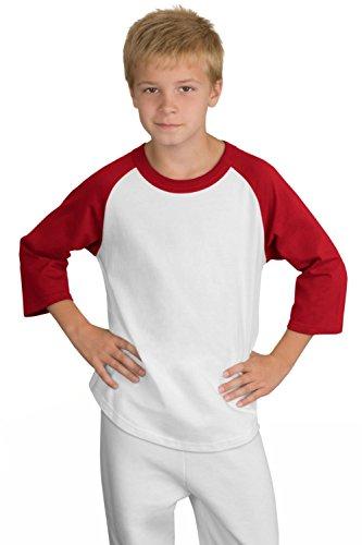 Sport-Tek - Youth Colorblock Raglan Jersey. Yt200 - White/Red_L