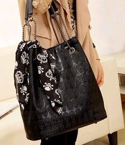 MDR Store Version Fashion Women's Faux Leather Skull Handbag Lady PU Totes Hobo & Carry Bag Black