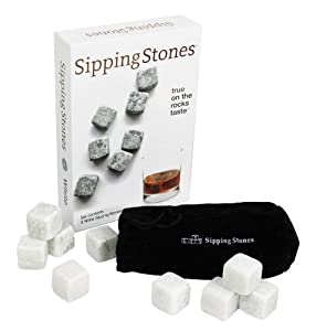 Sipping Stones - Set of 9 White Whisky Chilling Rocks - Made of 100% Pure Soapstone