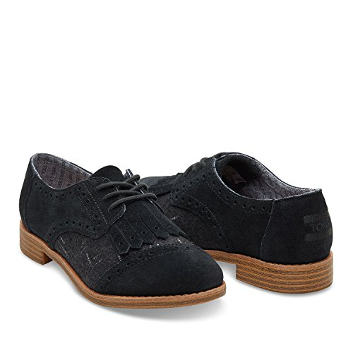 Toms Women's Brogue Dress Lace-up Black Suede/wool Kiltie Oxford (9.5)