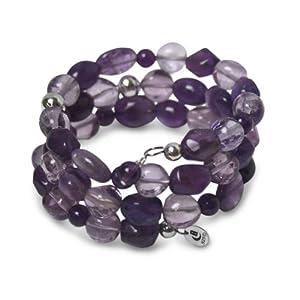Beadazzling Sterling Silver Precious Purple Amethyst Beaded Wrap Gift Bracelet