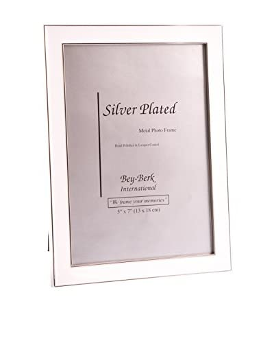 Bey-Berk Silver-Plated White Enamel 5 x 7 Picture Frame with Easel Back