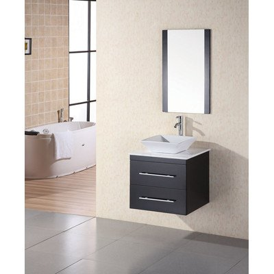 Design Element DEC071C-W Elton 24-Inch Wall-Mount Single Vessel Sink Vanity with Carrera White Marble Top