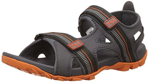 Fila Men's Warmer Dark Grey and Orange Sandals and Floaters - 8 UK/India (42 EU)