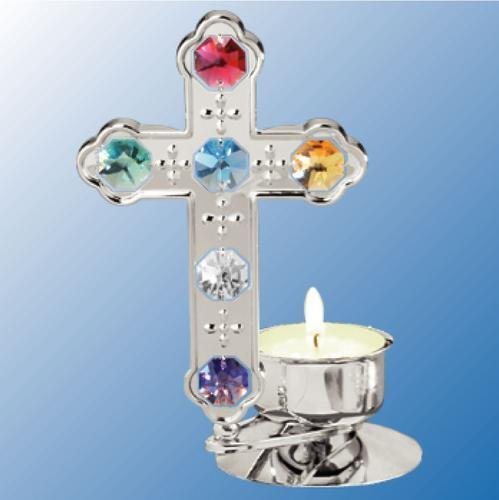 Chrome Plated Cross Tea-Light..... With Multi Color Swarovski Austrian Crystal