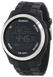 Armitron Sport Men's 40/8267BLK Large Black Resin Strap Stainless-Steel Bezel Chronograph Watch