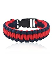 "Aero Sport ""Rebel By Nature, Cool By Choice"" Red-Blue Survival Rope Bracelet"