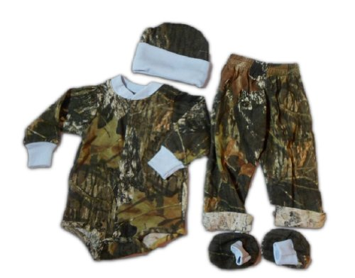 Mossy Oak Baby Set - Infant Boys Ls Creeper Pants Hat Booties 4Pc Gift Set (Newborn, Mossy Oak)