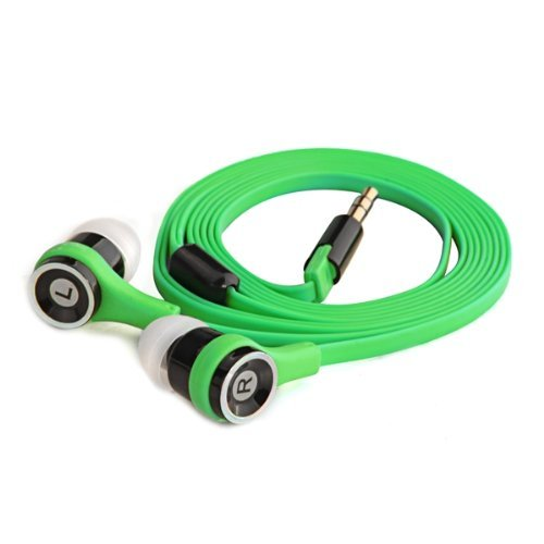 Sodial(R) Green 3.5Mm Earphone Earbud Headset Headphone Flat Cable For Iphone Mp3 Mp4