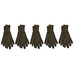 ICE BEAR Men's Gloves (WG05, Olive Green, Free Size, Pack of 5)