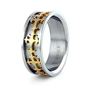 Free Personalized Engraving Stainless Steel Men's Ring w/ Gold Plated Cross Design - Size 7