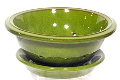 Genuine Terracotta 24cm Salad Bowl With Plate - Rio Green by Be-Active