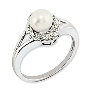 IceCarats Designer Jewelry Size 9 Sterling Silver Diamond Pearl Ring
