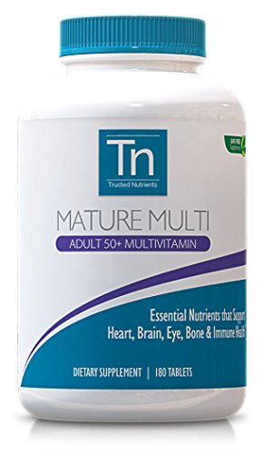 Trusted Nutrients Mature 50+ Multivitamin, 180 Count, 25 Essential Vitamins And Minerals, Gmo Free
