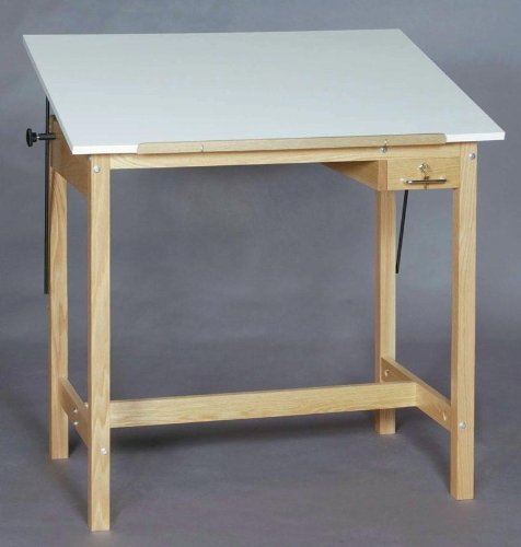 Solid Oak 4-Post Table w Angled Melamine Top - SMI (48 in. L x 36 in. W x 37 in. H)