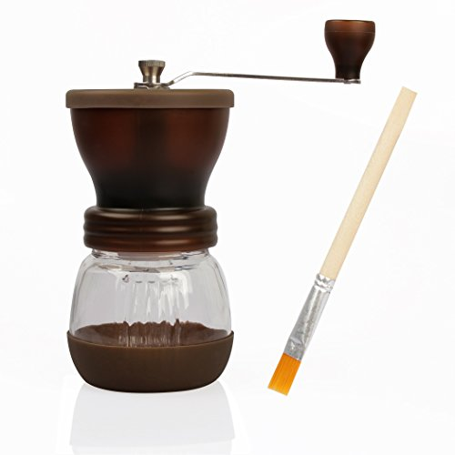 RC Mini Hand-Crank Coffee Bean Grinder Manual Coffee Grinding Mill 120g With Brush & Lid - Brown