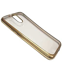 Chevron Back Case Cover for Moto G Play, 4th Gen/ Motorola Moto G4 Play (Transparent/Gold Border)