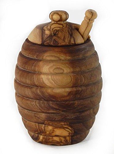 Le Souk Olivique Olive Wood Honey Pot With Drip Stick, 10-Ounce