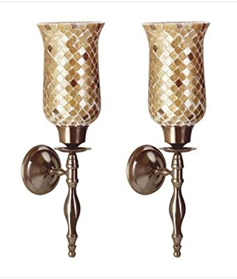 Amazon.com: 2 Glass Amber Mosaic Wall Sconce Votive Candle holders: Home Improvement